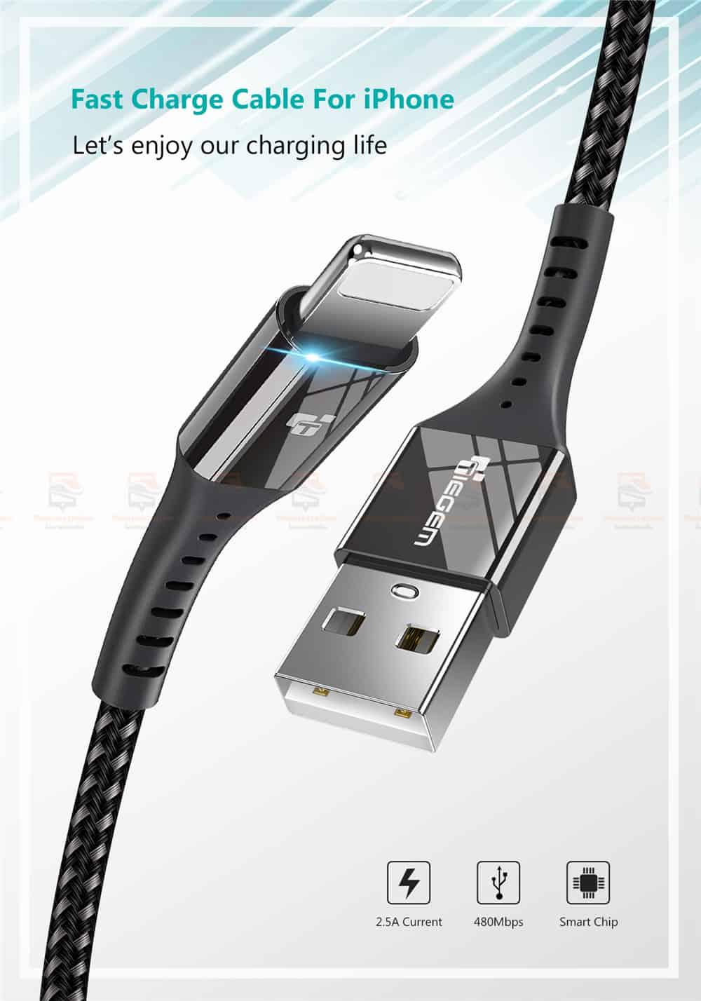 สายชาร์จไอโฟน TIEGEM Nylon Fast Charging Cable For iPhone X 8 7 6_-3