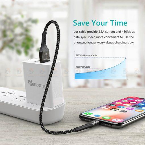 สายชาร์จไอโฟน TIEGEM Nylon Fast Charging Cable For iPhone X 8 7 6_-4
