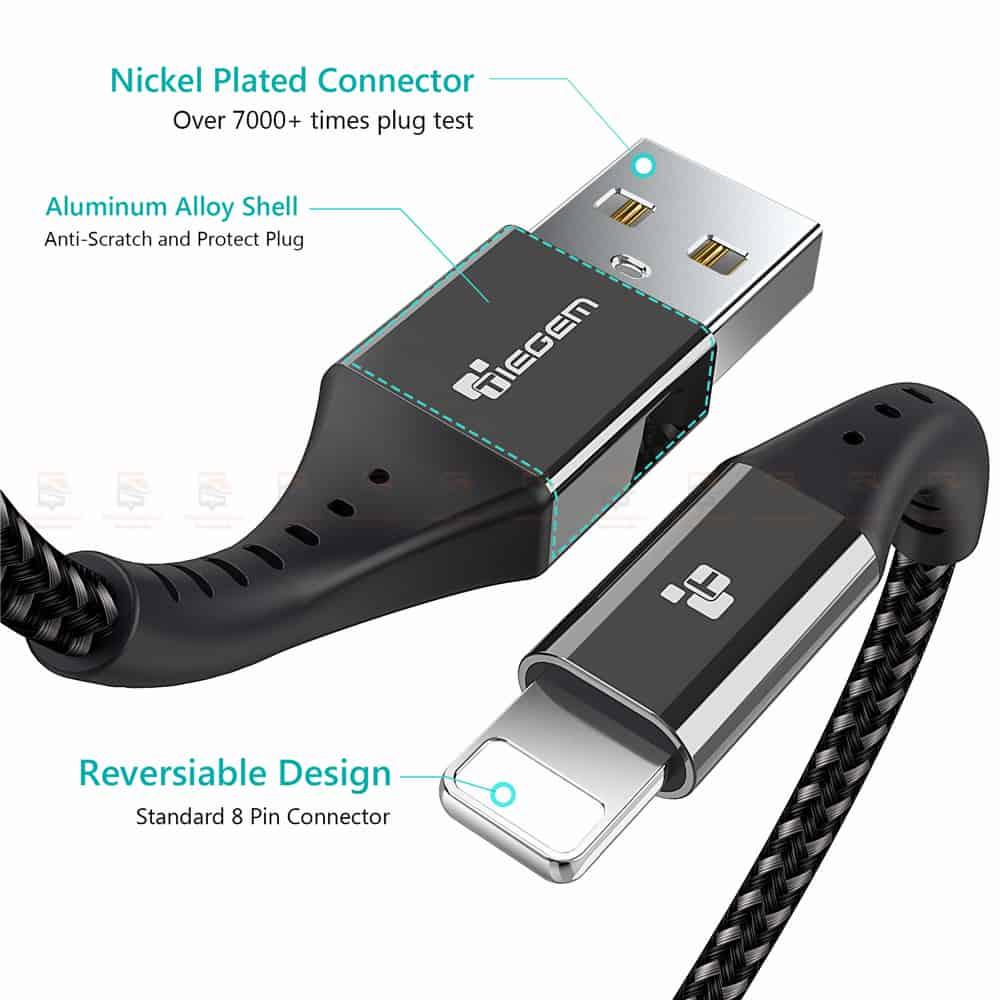 สายชาร์จไอโฟน TIEGEM Nylon Fast Charging Cable For iPhone X 8 7 6_-5