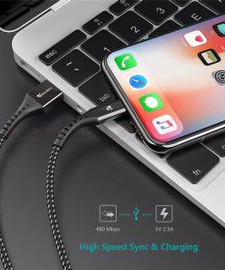 สายชาร์จไอโฟน TIEGEM Nylon Fast Charging Cable For iPhone X 8 7 6_-6