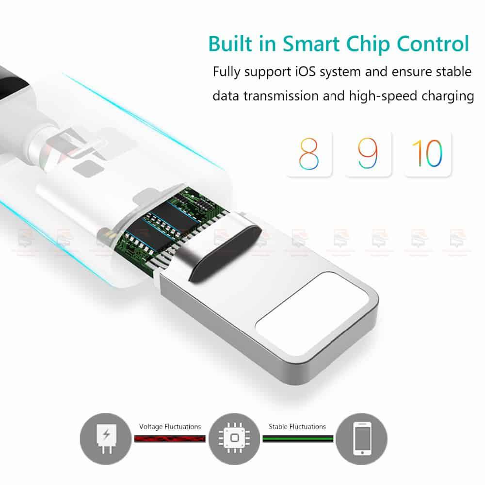 สายชาร์จไอโฟน TIEGEM Nylon Fast Charging Cable For iPhone X 8 7 6_-7