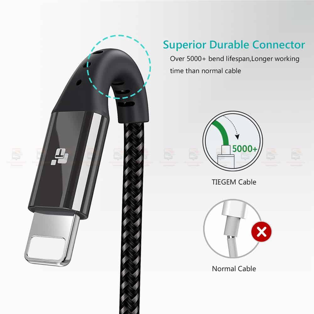 สายชาร์จไอโฟน TIEGEM Nylon Fast Charging Cable For iPhone X 8 7 6_-8