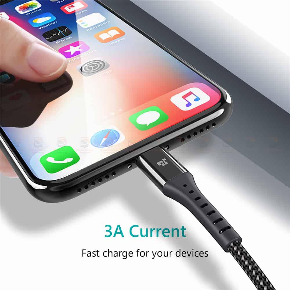 สายชาร์จไอโฟน TIEGEM Nylon Fast Charging Cable For iPhone X 8 7 6_