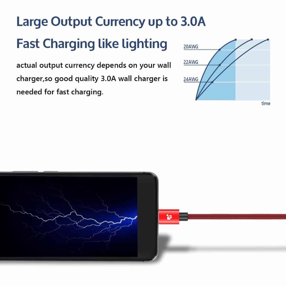 สายชาร์จ Samsung TIEGEM Tanpow-K series Alloy Aluminum Nylon Fast Charging For Android 7