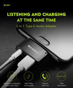 Type-C Aux Audio Cable Adapter USB Type C to 3.5mm ชาร์จแบต พร้อมฟังเพลง Benks_1