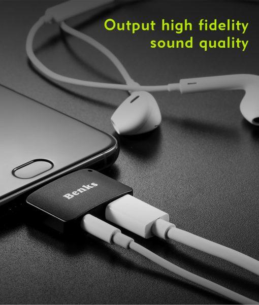 Type-C Aux Audio Cable Adapter USB Type C to 3.5mm ชาร์จแบต พร้อมฟังเพลง Benks_3