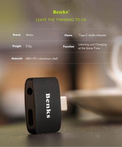 Type-C Aux Audio Cable Adapter USB Type C to 3.5mm ชาร์จแบต พร้อมฟังเพลง Benks_7