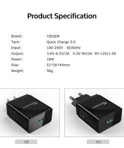 ที่ชาร์จแบต TIEGEM Quick Charge 3.0 USB Adapter 18W for Samsung iphone android 11