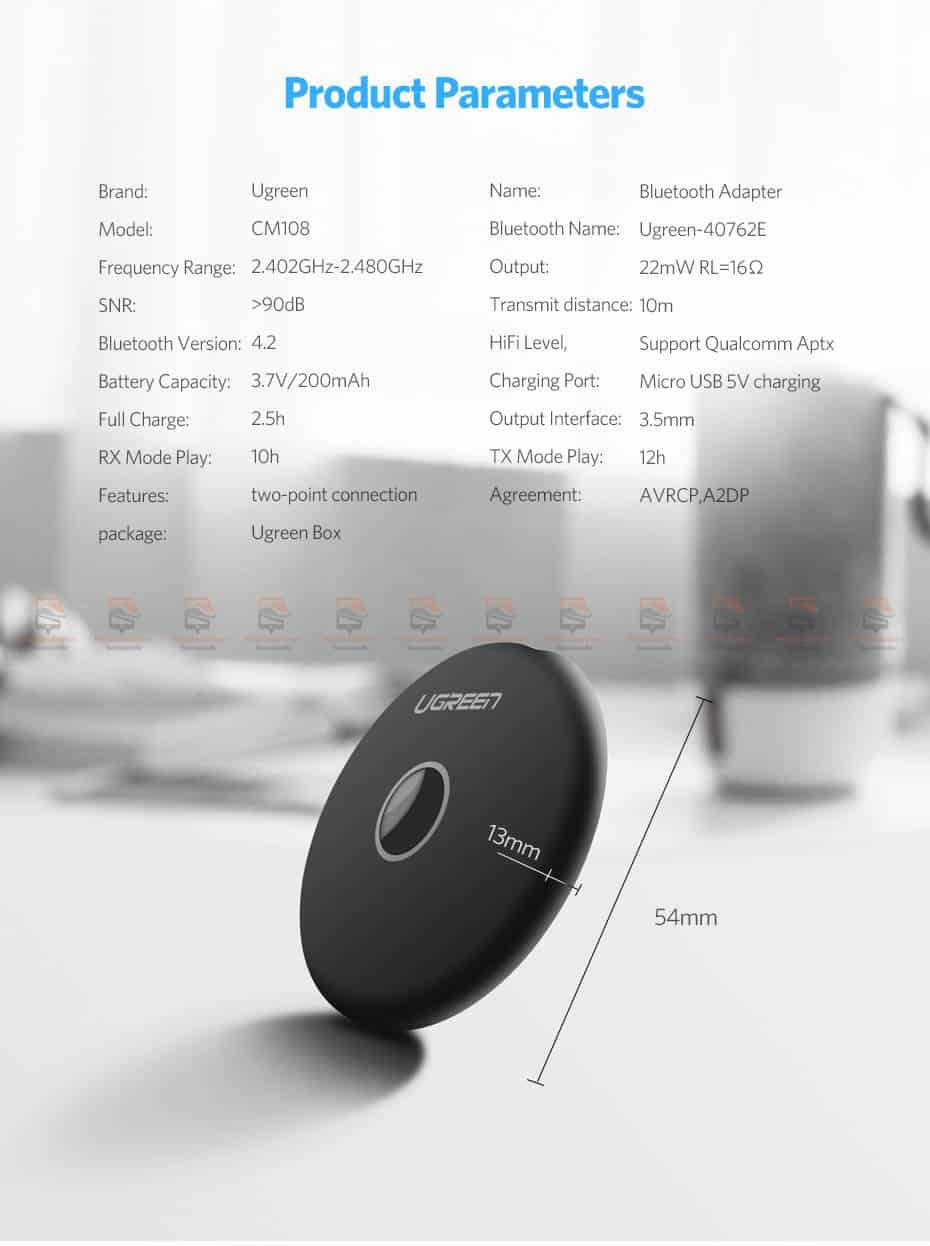 บลูทูธรถยนต์ Ugreen Aptx Bluetooth Transmitter Receiver Stereo Audio Music Adapter-16