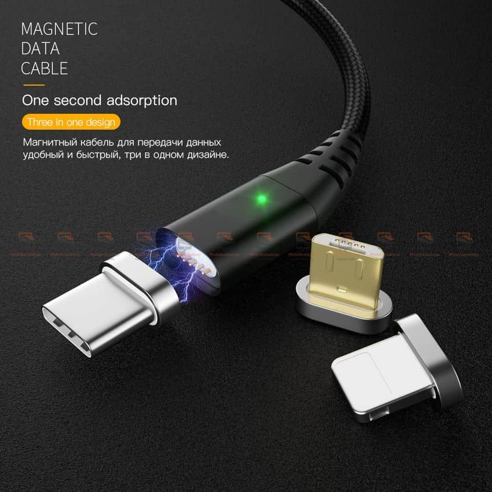 สายชาร์จแม่เหล็ก PZOZ Magnetic Cable Lighting Micro USB Type C Fast Charging 1