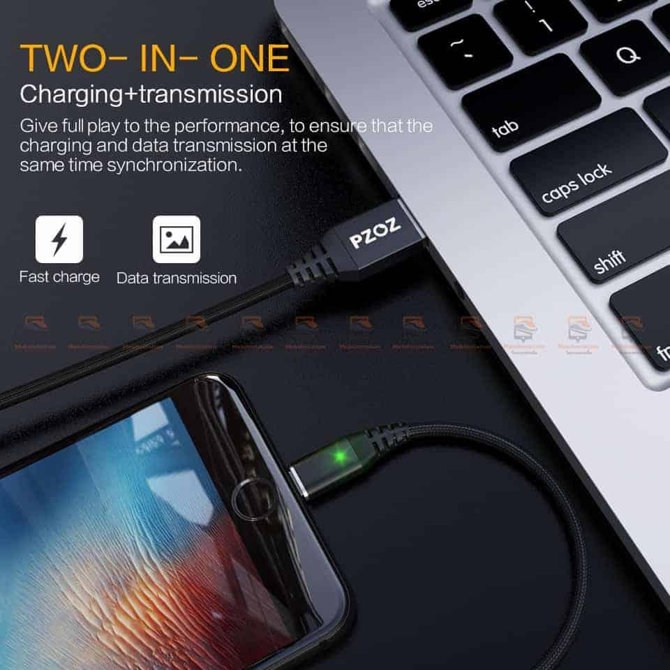 สายชาร์จแม่เหล็ก PZOZ Magnetic Cable Lighting Micro USB Type C Fast Charging 11