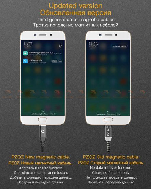 สายชาร์จแม่เหล็ก PZOZ Magnetic Cable Lighting Micro USB Type C Fast Charging 2