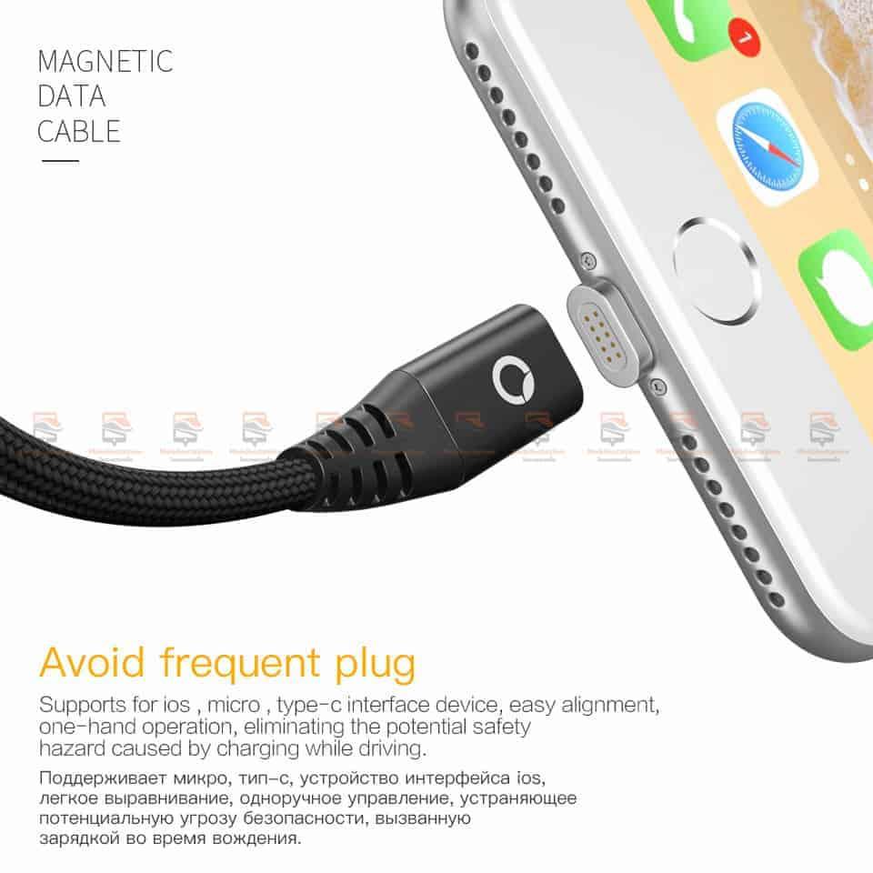 สายชาร์จแม่เหล็ก PZOZ Magnetic Cable Lighting Micro USB Type C Fast Charging 5