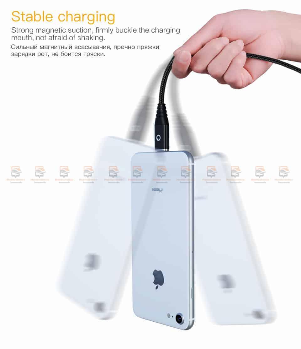 สายชาร์จแม่เหล็ก PZOZ Magnetic Cable Lighting Micro USB Type C Fast Charging 7