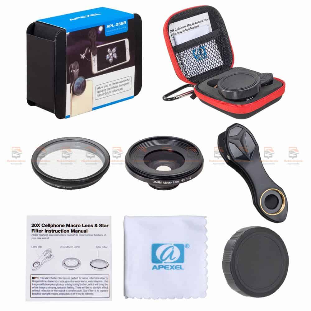เลนส์มือถือ มาโคร APEXEL Optic phone lens 25mm 20x super macro lens-14