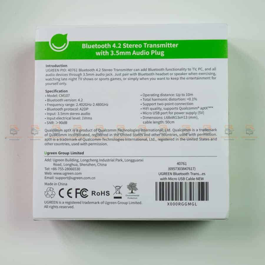 Ugreen Bluetooth Transmitter 4.2 APTX for TV 3.5MM Jack Audio Adapter Wireless Bluetooth Audio Transmitter for Headphones TV-PC สินค้าจริง-2