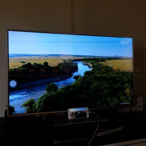 ตัวอย่างการแสดงผล สาย HDMI ต่อมือถือเข้าทีวี Ugreen for iPhone Android บนทีวี 42 นิ้ว ด้วย iPhone