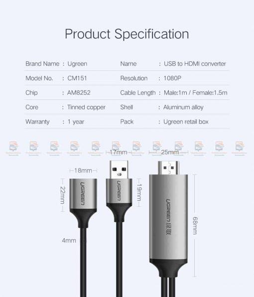 ต่อมือถือเข้าทีวี Ugreen for iPhone Android Phoneto HDMI Adapter Full HD 1080P รับรอง ไอโฟน 8 X 7 6s Plus / Samsung-12