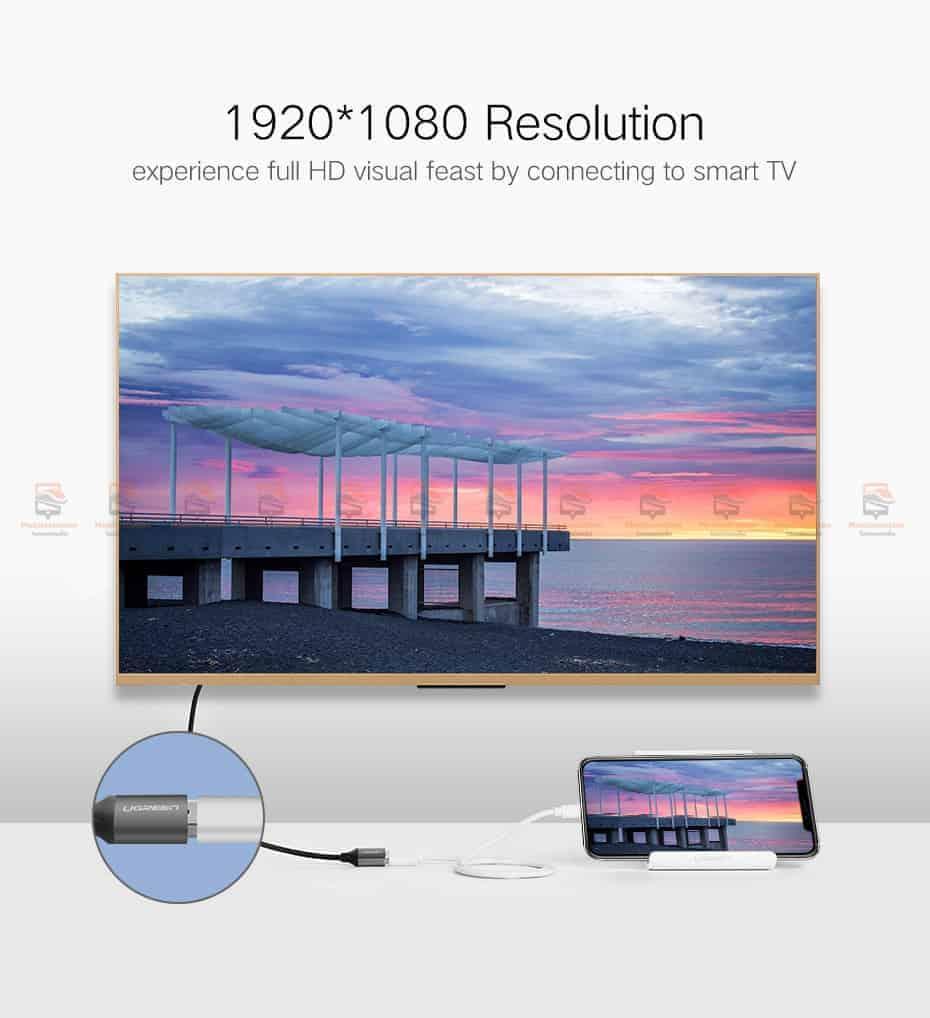 ต่อมือถือเข้าทีวี Ugreen HDMI Cable for iPhone 8 X 7 6s Plus iPad TV Android Phones-2