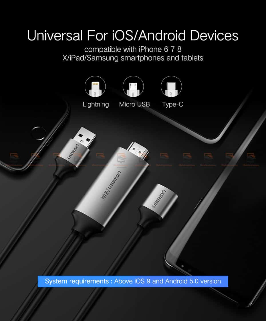 ต่อมือถือเข้าทีวี Ugreen HDMI Cable for iPhone 8 X 7 6s Plus iPad TV Android Phones-3