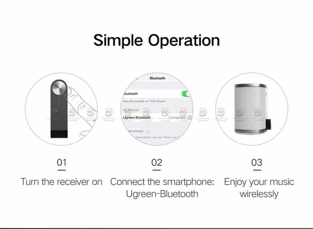 บลูทูธรถยนต์ Ugreen Bluetooth 4.2 Audio Receiver aptX-13
