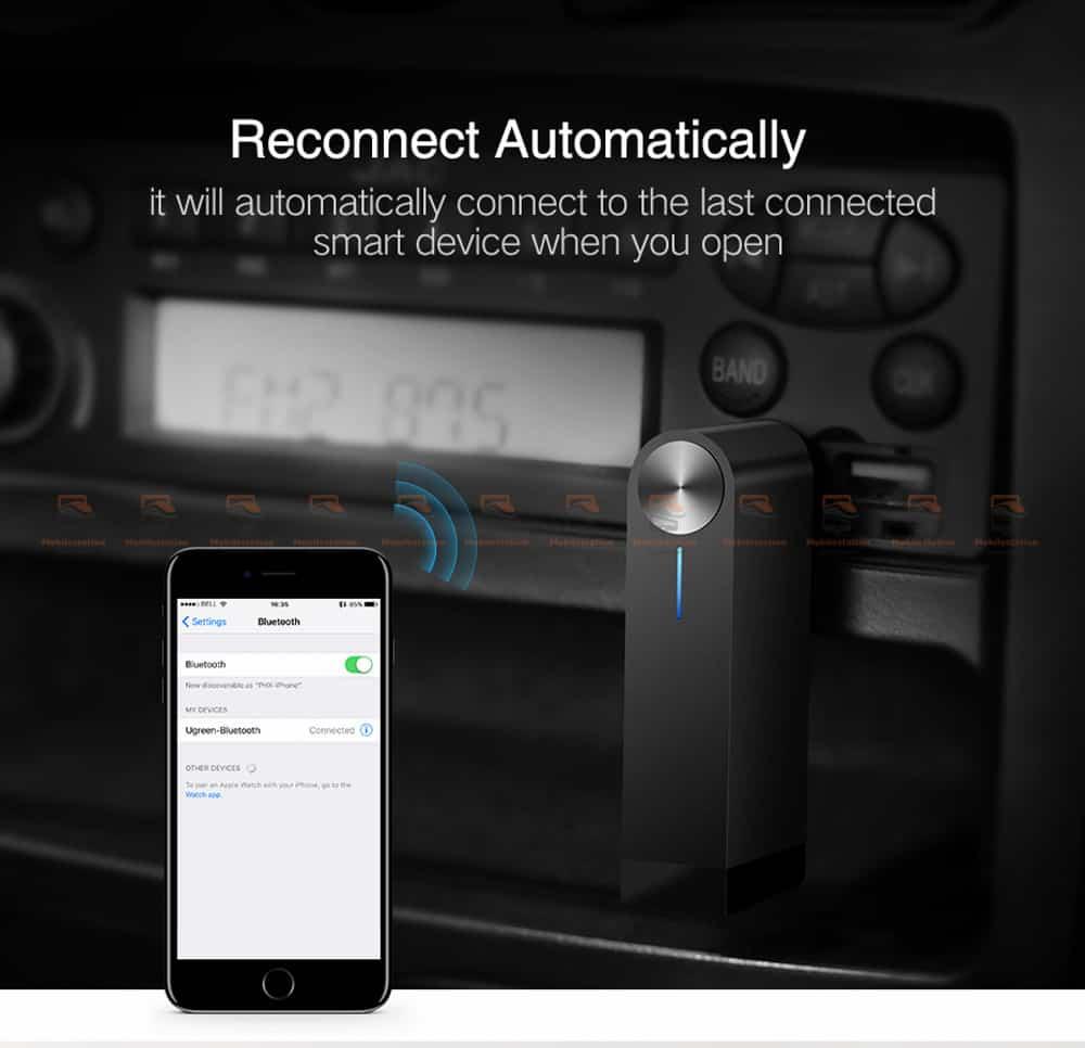 บลูทูธรถยนต์ Ugreen Bluetooth 4.2 Audio Receiver aptX-8