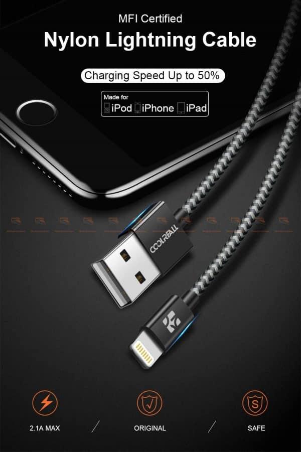 สายชาร์จไอโฟน Coolreall MFI USB Charger Cable for iPhone X7865 Cable Fast Charger-1