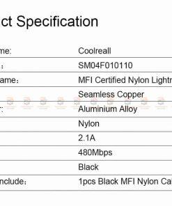 สายชาร์จไอโฟน Coolreall MFI USB Charger Cable for iPhone X7865 Cable Fast Charger-10