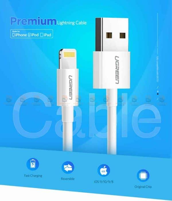 สายชาร์จไอโฟน Ugreen MFi Lightning to USB Cable for iPhone X 7 6 5 6s Plus Fast Charging-1