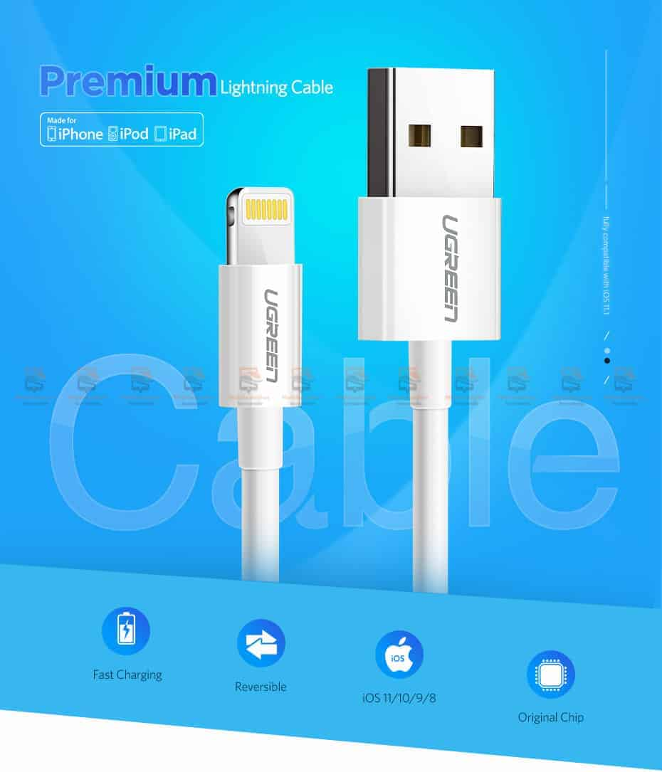 สายชาร์จ Ugreen MFi Lightning to USB Cable for iPhone X 7 6 5 6s Plus Fast Charging-1