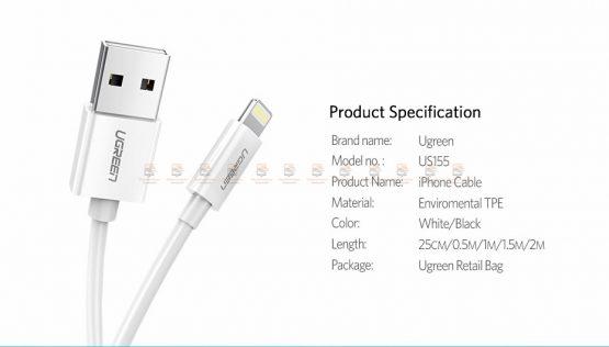 สายชาร์จไอโฟน Ugreen MFi Lightning to USB Cable for iPhone X 7 6 5 6s Plus Fast Charging-15