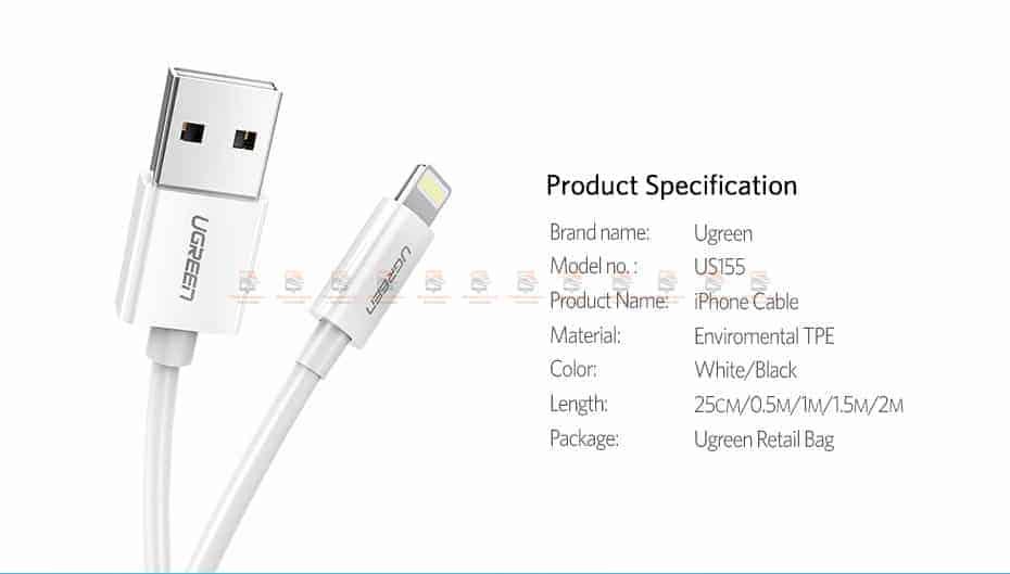 สายชาร์จ Ugreen MFi Lightning to USB Cable for iPhone X 7 6 5 6s Plus Fast Charging-15