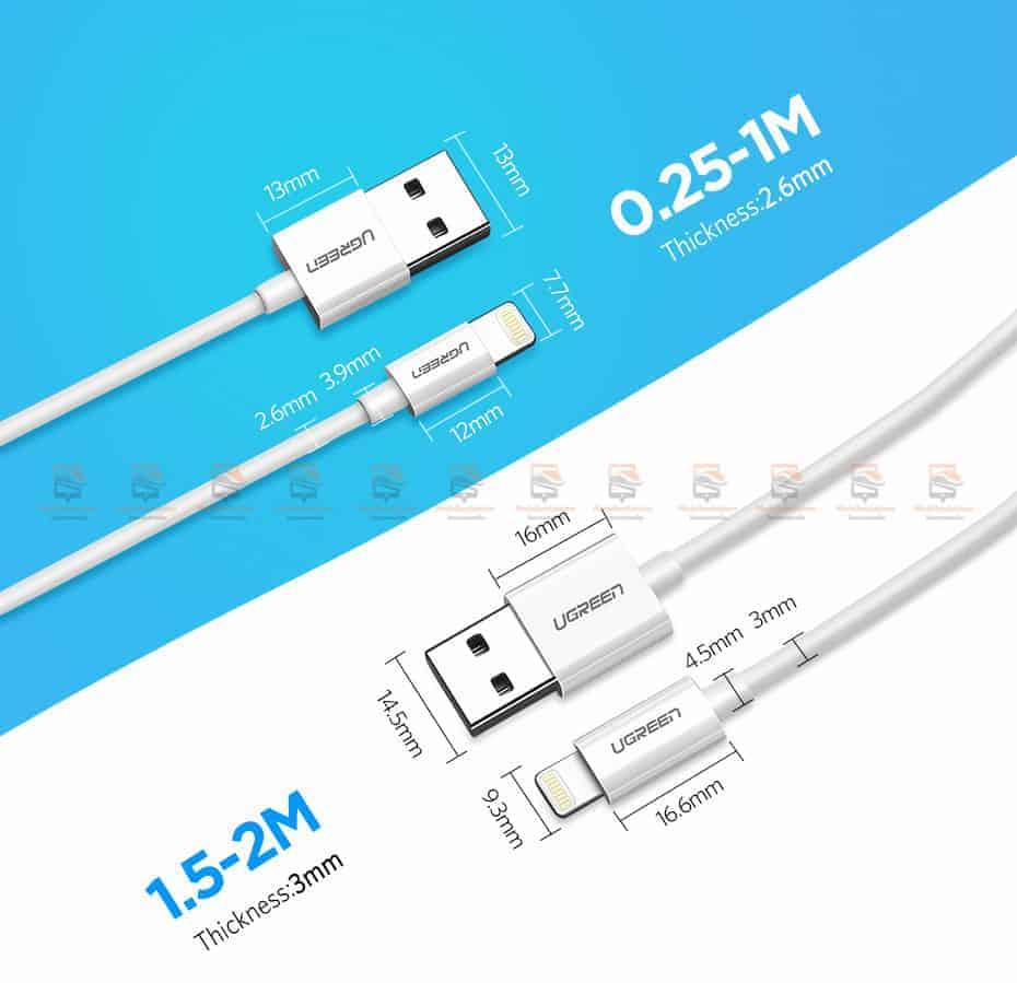 สายชาร์จ Ugreen MFi Lightning to USB Cable for iPhone X 7 6 5 6s Plus Fast Charging-16