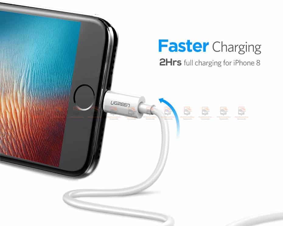 สายชาร์จ Ugreen MFi Lightning to USB Cable for iPhone X 7 6 5 6s Plus Fast Charging-2