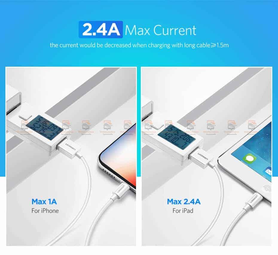 สายชาร์จ Ugreen MFi Lightning to USB Cable for iPhone X 7 6 5 6s Plus Fast Charging-3