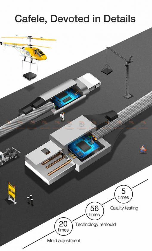สายชาร์จ iPhone สั้น X 8 7 6 5 SE Cafele USB Cable Fast Charging Data Cable ยาว 30 Cm-2