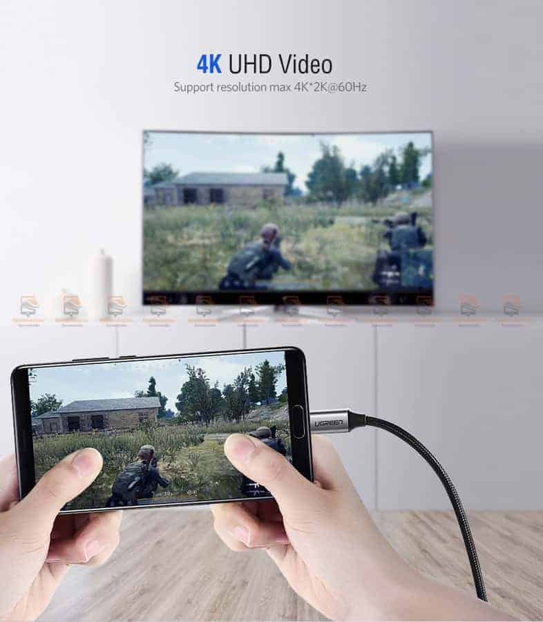 Ugreen USB-C HDMI Cable Type C to HDMI Thunderbolt 3 for MacBook Samsung Galaxy S9S8 Huawei Mate 10 Pro P20 USB-C HDMI Adapter-2