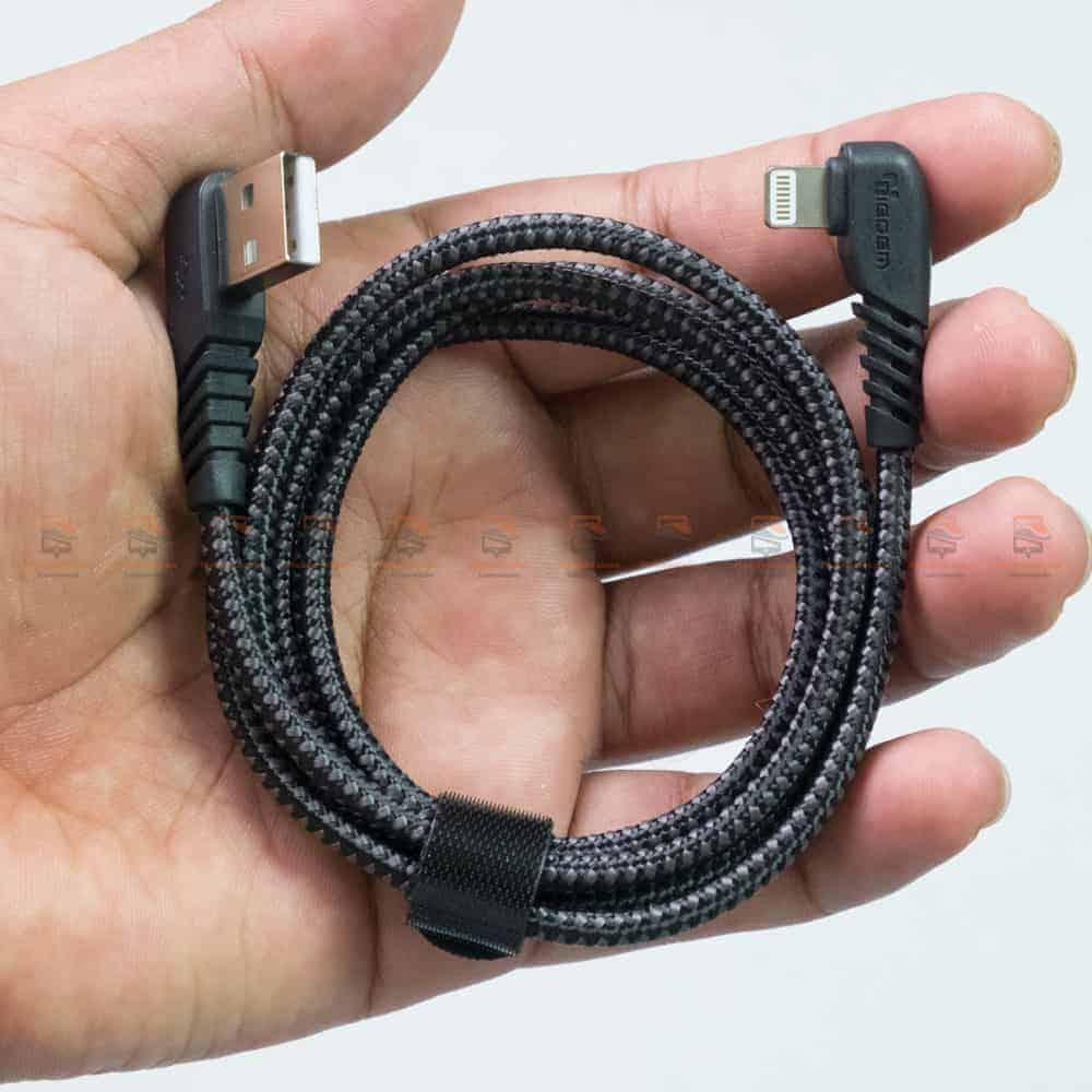 สายชาร์จไอโฟน TIEGEM 90 Degree For iPhone X 8 7 6 5 6s plus 2.1A Fast Charger Data Cable รีวิว ตัวอย่างสินค้าจริง