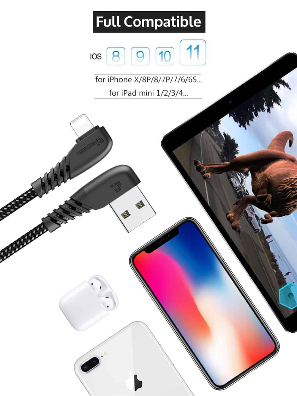 สายชาร์จไอโฟน TIEGEM 90 Degree For iPhone X 8 7 6 5 6s plus 2.1A Fast Charger Data Cable-11