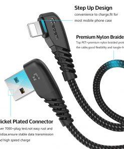 สายชาร์จไอโฟน TIEGEM 90 Degree For iPhone X 8 7 6 5 6s plus 2.1A Fast Charger Data Cable-4