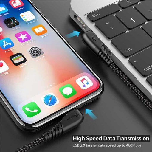 สายชาร์จไอโฟน TIEGEM 90 Degree For iPhone X 8 7 6 5 6s plus 2.1A Fast Charger Data Cable-5