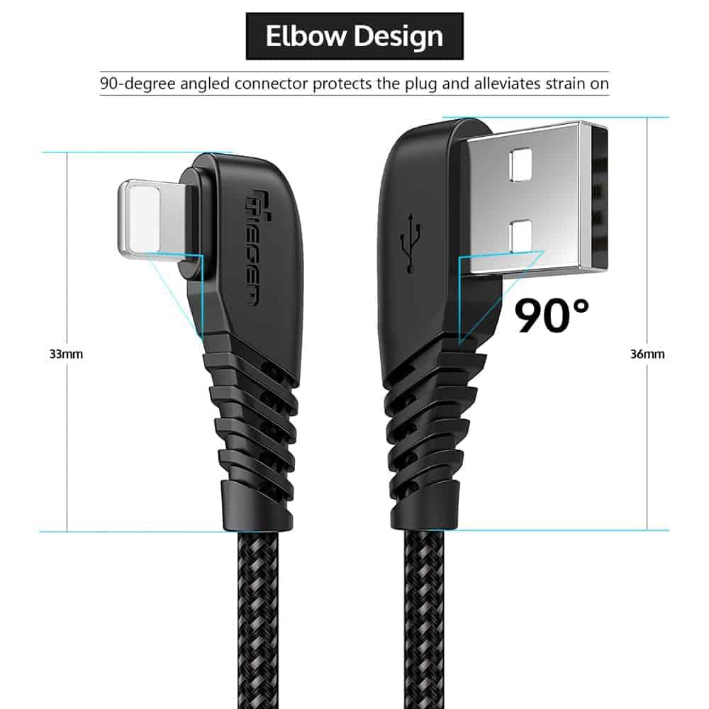 สายชาร์จไอโฟน TIEGEM 90 Degree For iPhone X 8 7 6 5 6s plus 2.1A Fast Charger Data Cable-9