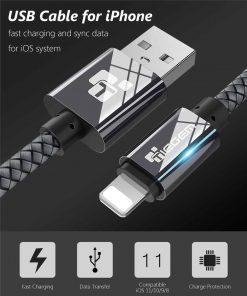 สายชาร์จไอโฟน lightning TIEGEM Nylon Fiber Sturdy For iPhone iPad 2.5A Fast Charger-1