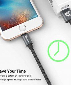 สายชาร์จไอโฟน lightning TIEGEM Nylon Fiber Sturdy For iPhone iPad 2.5A Fast Charger-3