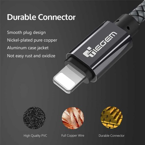 สายชาร์จไอโฟน lightning TIEGEM Nylon Fiber Sturdy For iPhone iPad 2.5A Fast Charger-4