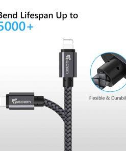 สายชาร์จไอโฟน lightning TIEGEM Nylon Fiber Sturdy For iPhone iPad 2.5A Fast Charger-5