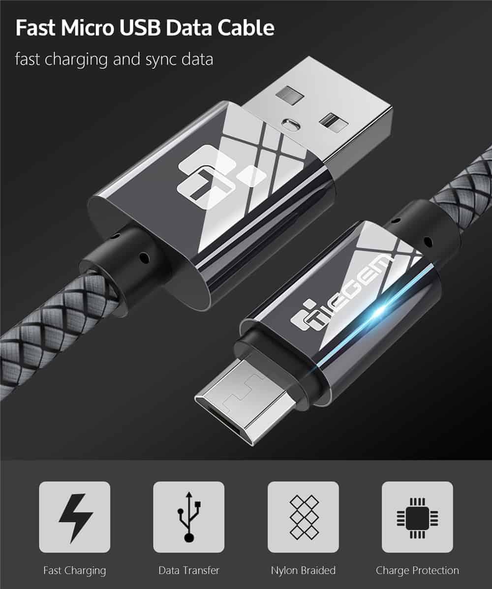 สายชาร์จ Micro USB Cable TIEGEM Nylon Fiber Sturdy For Samsung android 2.5A Fast Charger-1