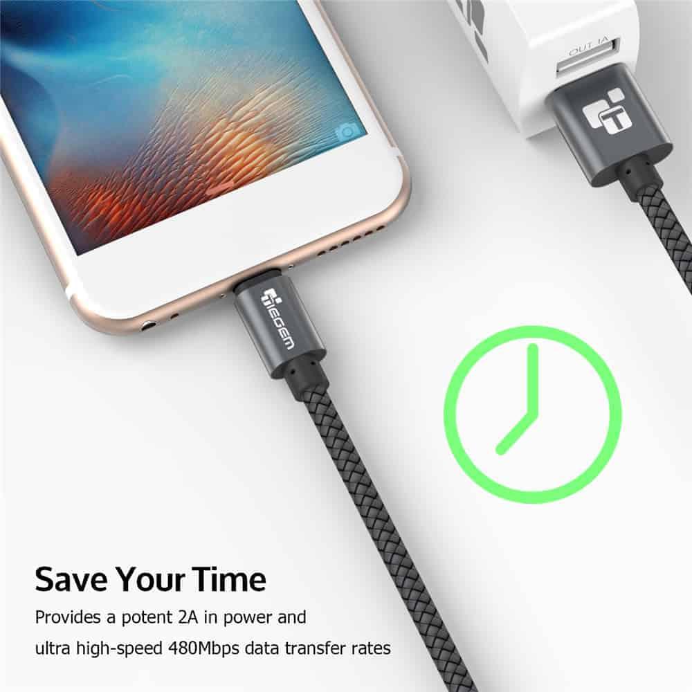 สายชาร์จ Micro USB Cable TIEGEM Nylon Fiber Sturdy For Samsung android 2.5A Fast Charger-3