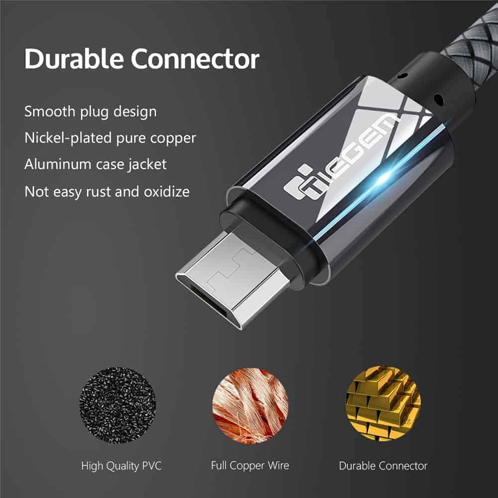 สายชาร์จ Micro USB Cable TIEGEM Nylon Fiber Sturdy For Samsung android 2.5A Fast Charger-4