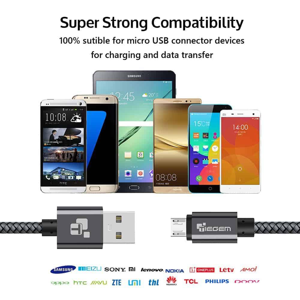 สายชาร์จ Micro USB Cable TIEGEM Nylon Fiber Sturdy For Samsung android 2.5A Fast Charger-8
